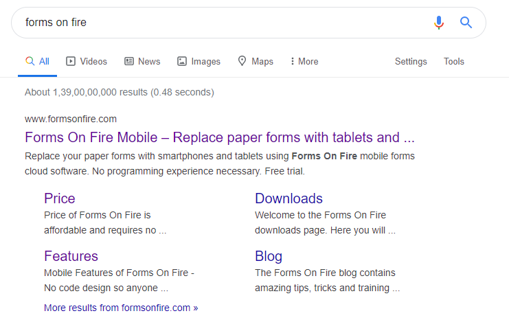 SERP layouts Forms on Fire