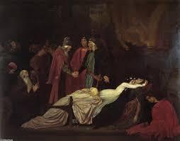 Resultado de imagen de La reconciliación de los Montescos y los Capuletos sobre los cuerpos muertos de Romeo y Julieta