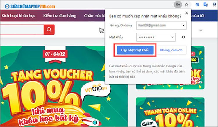 Cập nhật mật khẩu trên Chrome