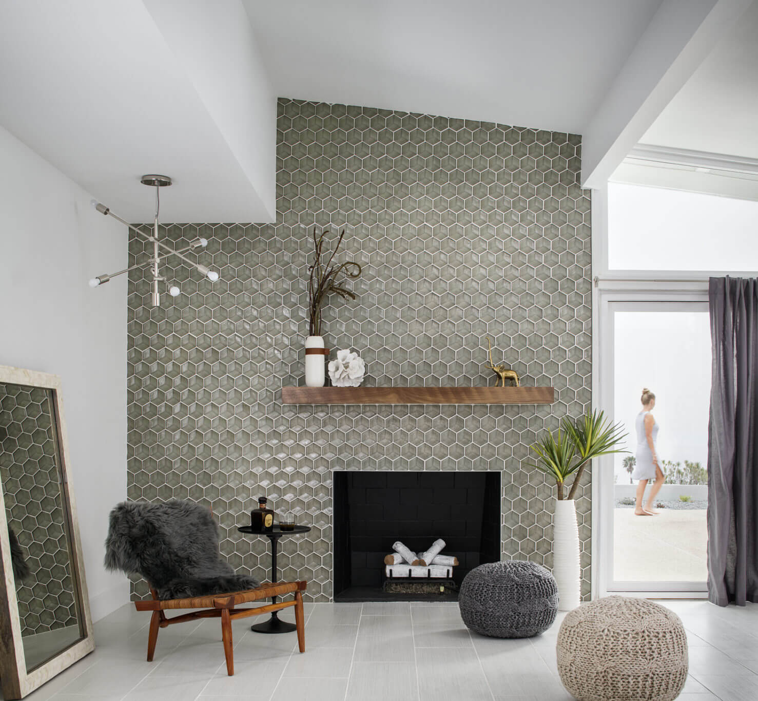 Hexagon tile wall and fireplace surround
