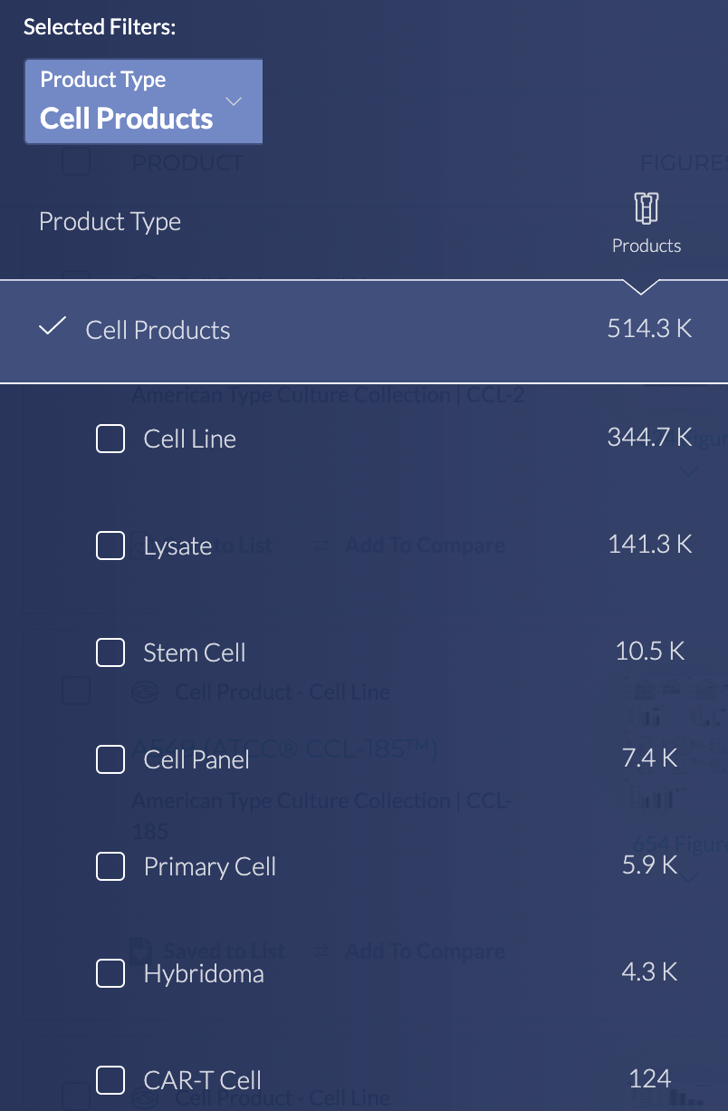 BenchSci Cell Products Filter