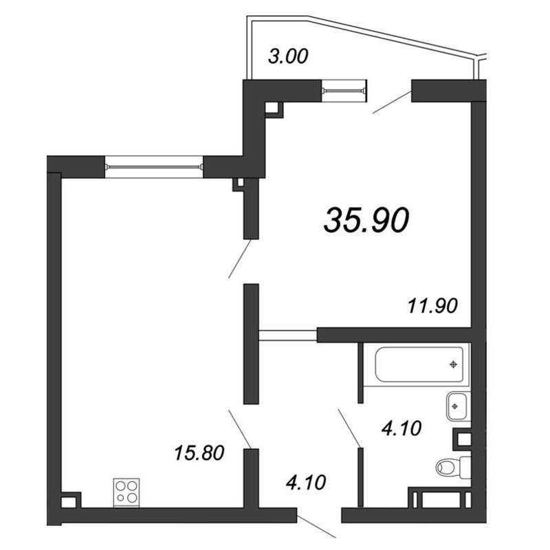 Однокомнатная квартира с асимметричным балконом