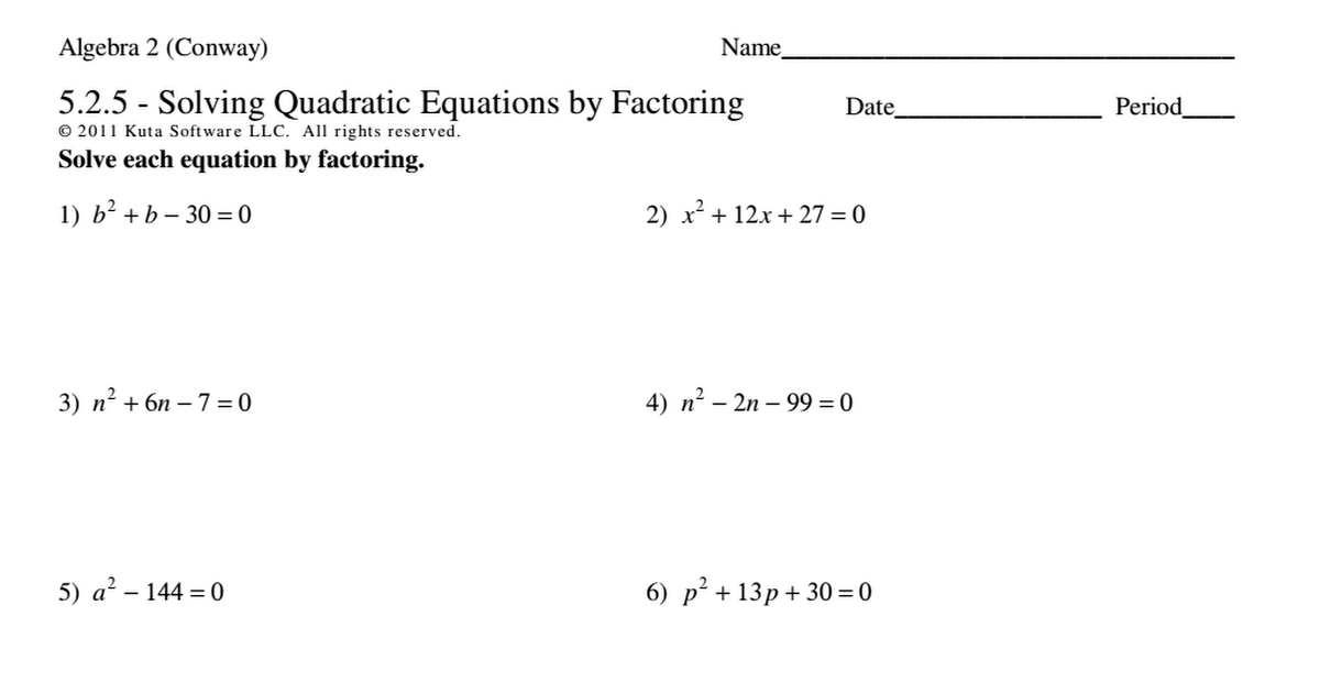 Kuta Software Algebra 1 Solving Quadratic Equations By Factoring – Factoring Worksheet Algebra 1