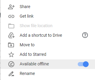 GDrive Available offline settings