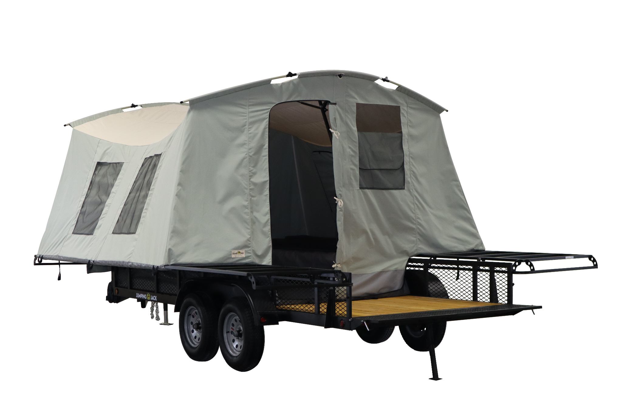 Jumping Jack Tent Trailers pop up toy hauler with front porch