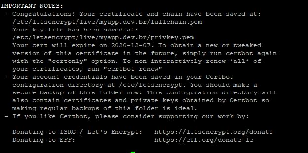 Mensagem de sucesso na criação do certificado SSL