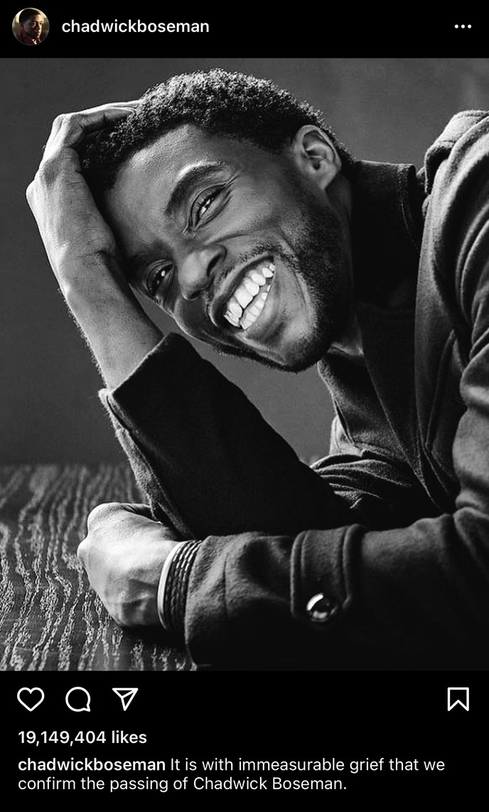 Chadwick Boseman's death announcement Instagram post