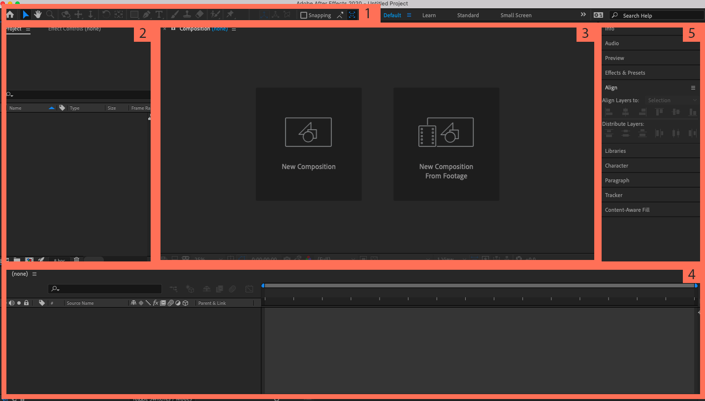 Screenshot of Adobe After Effects interface with labelled sections