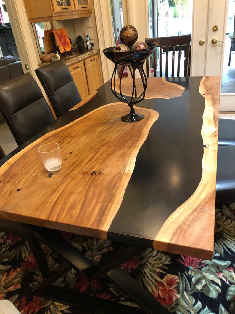 Dining and End Tables Black epoxy resin river table