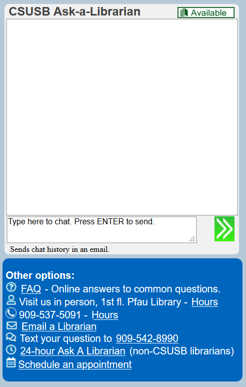 Ask a librarian opens a chat window similar to text messages.