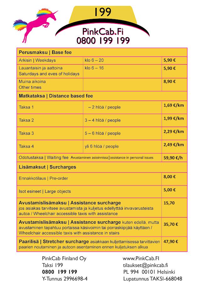 Esimerkki: Espoon Nihtisilta -->  Vantaan Tikkurila:  5,90 + 14 km * 1,69 Eur/km + 3 km hidasajoa (ruuhka-ajo) ja odotusta (aikavelotus) yhteensä 10 min =  5,90 + 23,66 + 9,98 => 39,59 €