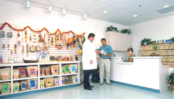 A client waiting room with a pleasant presentation of safe toys, educational materials and veterinarian-only dispensed bird foods makes a strong statement about the value of these items