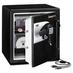 Sentry Safe QE4531: Water Resistant Safe, 1.2 ft3, 16-11/32w x 19-5/16d x 17-27/32h, Black / Silver