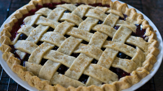 a lattice topped berry pie