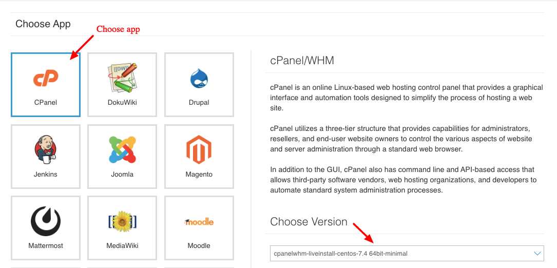 select cPanel version