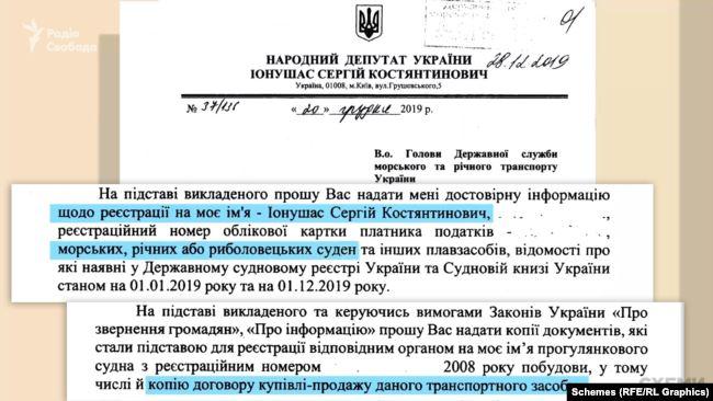 Сергій Іонушас просив надати документи на його прогулянкове судно, бо власні документи «зі спливом тривалого часу не збереглися»