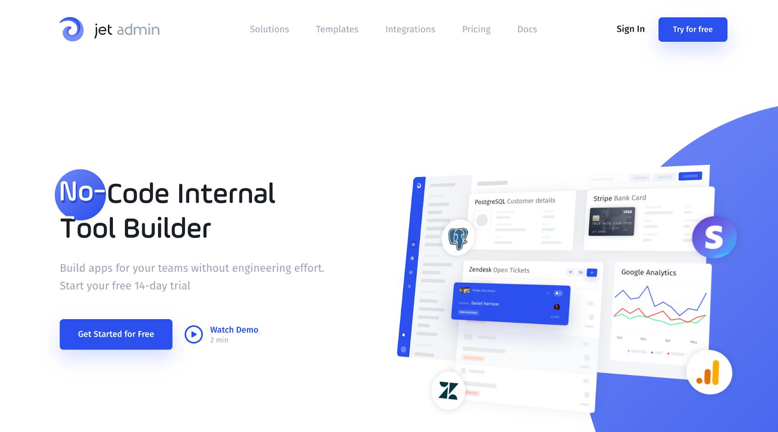 jet admin homepage