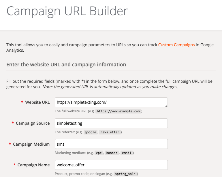 Screenshot of Google's Campaign URL Builder