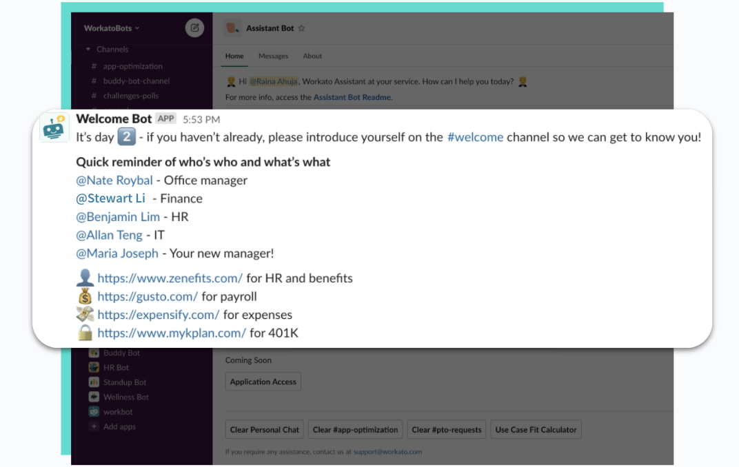 A Slack message from Welcome Bot that's sent on an employee's second day