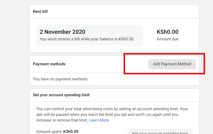 adding payment method to facebook in Kenya