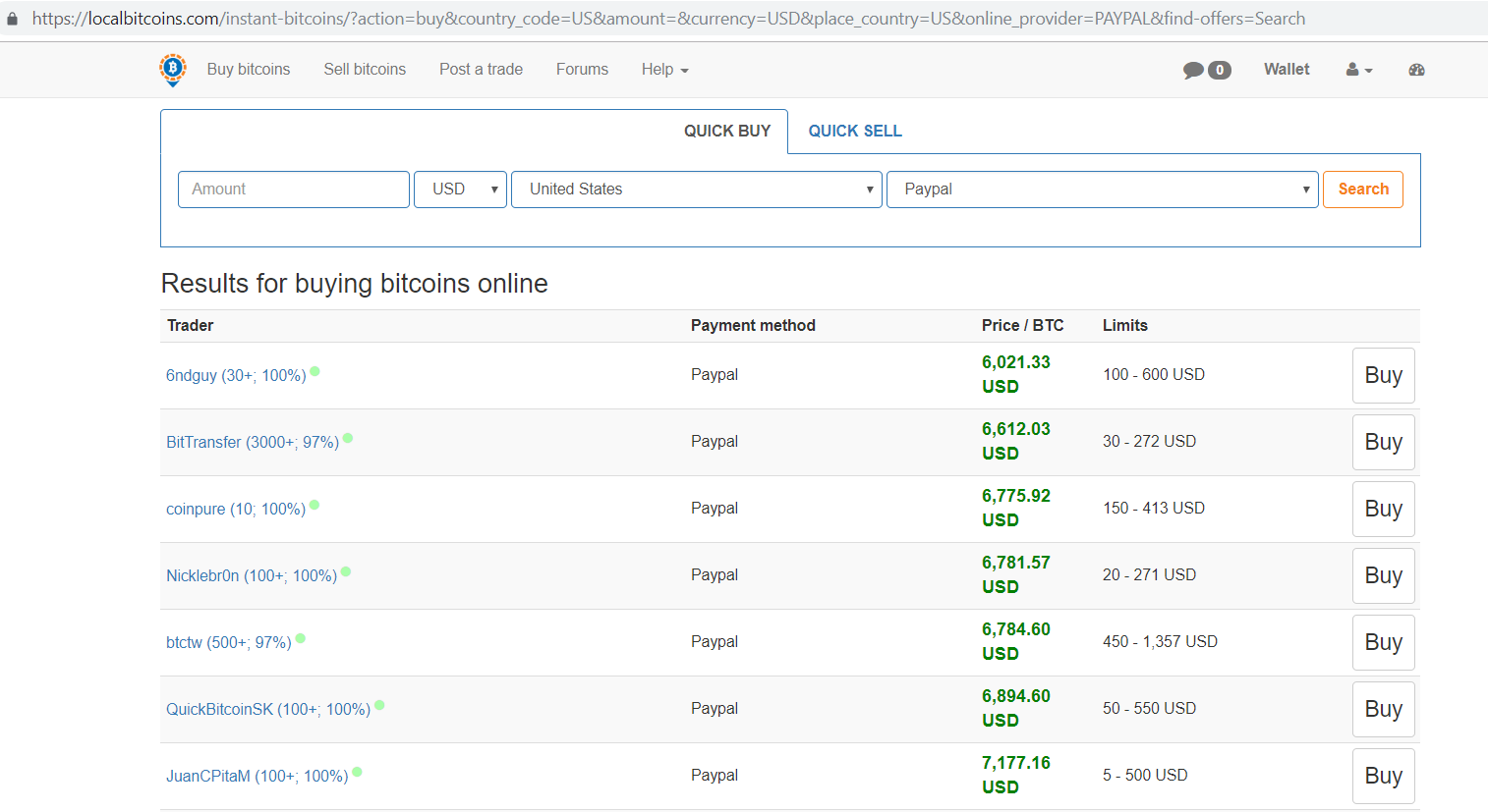Localbitcoins.com Results for buying bitcoins online screen.