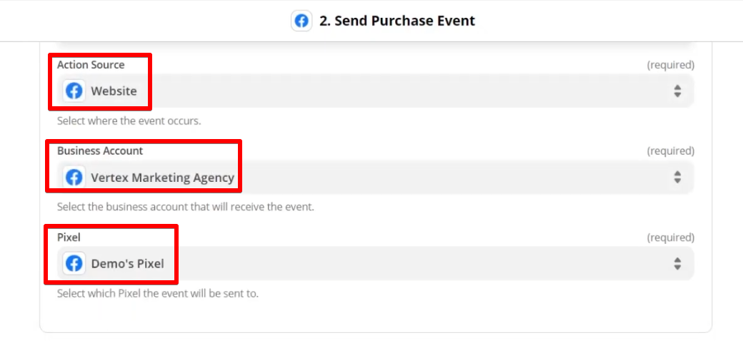 Choosing Website as the location of where the event occurs, Business Account which will receive the event, and Demo's Pixel as the Facebook Pixel to which the event will be sent