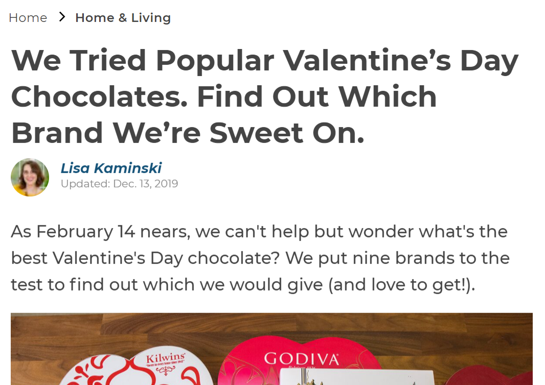 Valentine's Day news story about chocolate brands