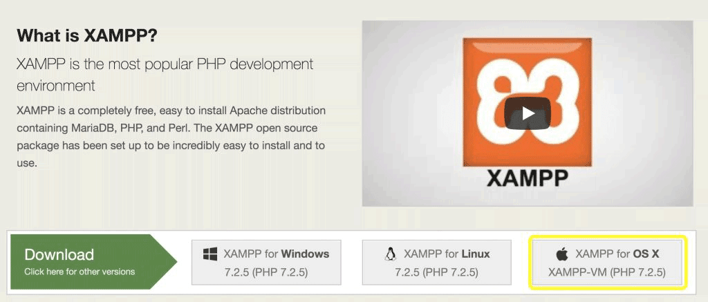 site de download do xampp com link para a versão os x