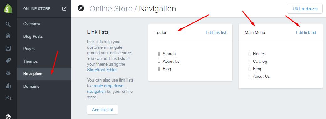 Shopify Navigation editing