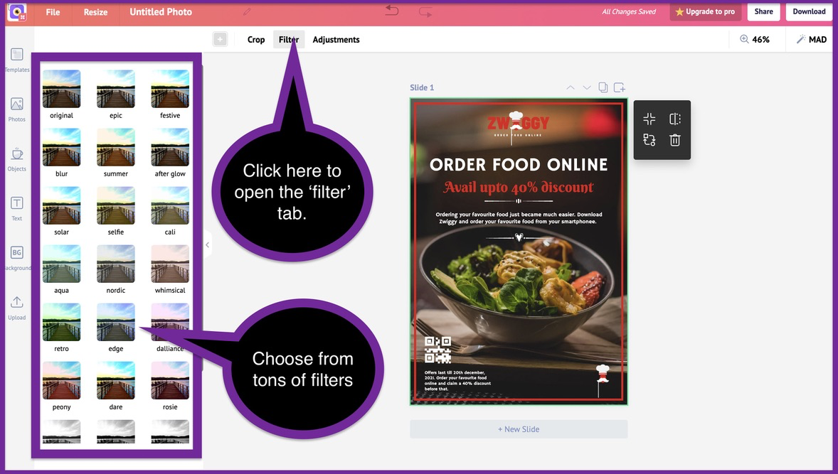 How to create a business flyer - step 4 -screenshot 4