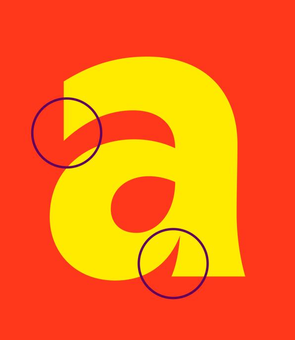"""L'immagine mostra i dettagli del nuovo font di Plenty evidenziando le curvature presenti nella lettera """"a"""". Fonte: agenzia &Walsh's"""