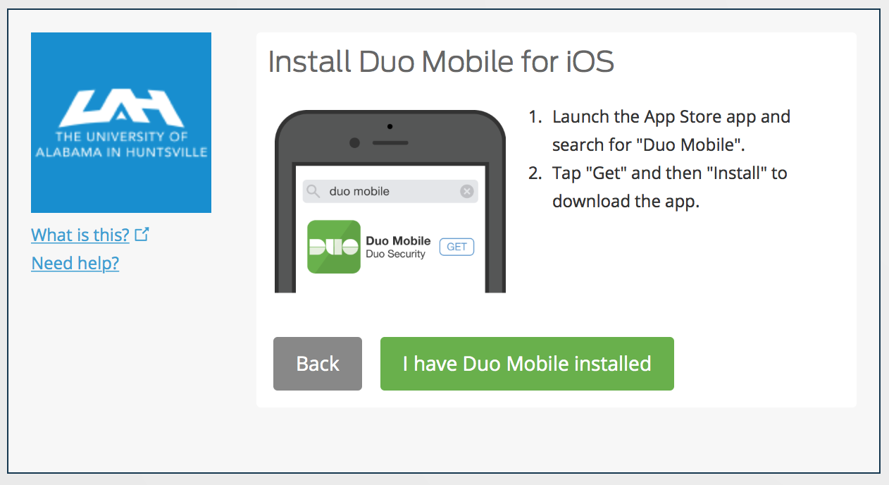 Visual Representation of Install Duo Mobile On Your Device Screen