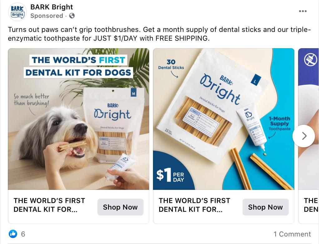 Facebook ad landing page example Bark Bright