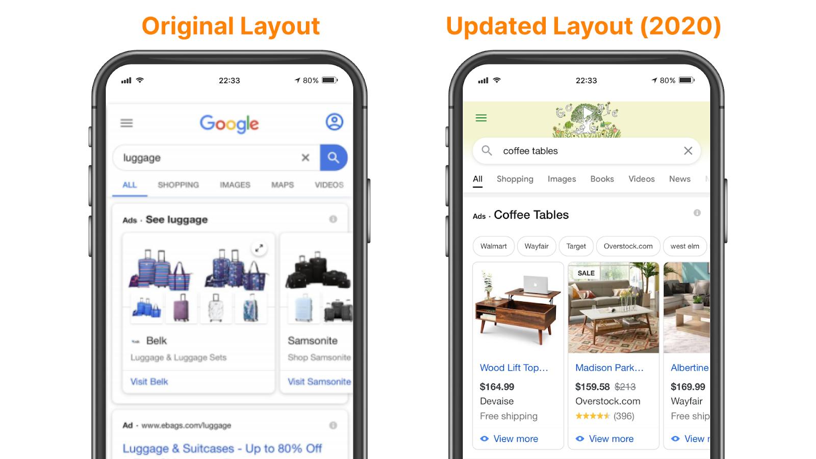 Original versus new Google Showcase ad format for shopping