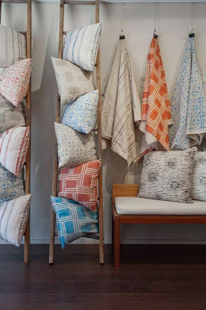 pillows in ladder