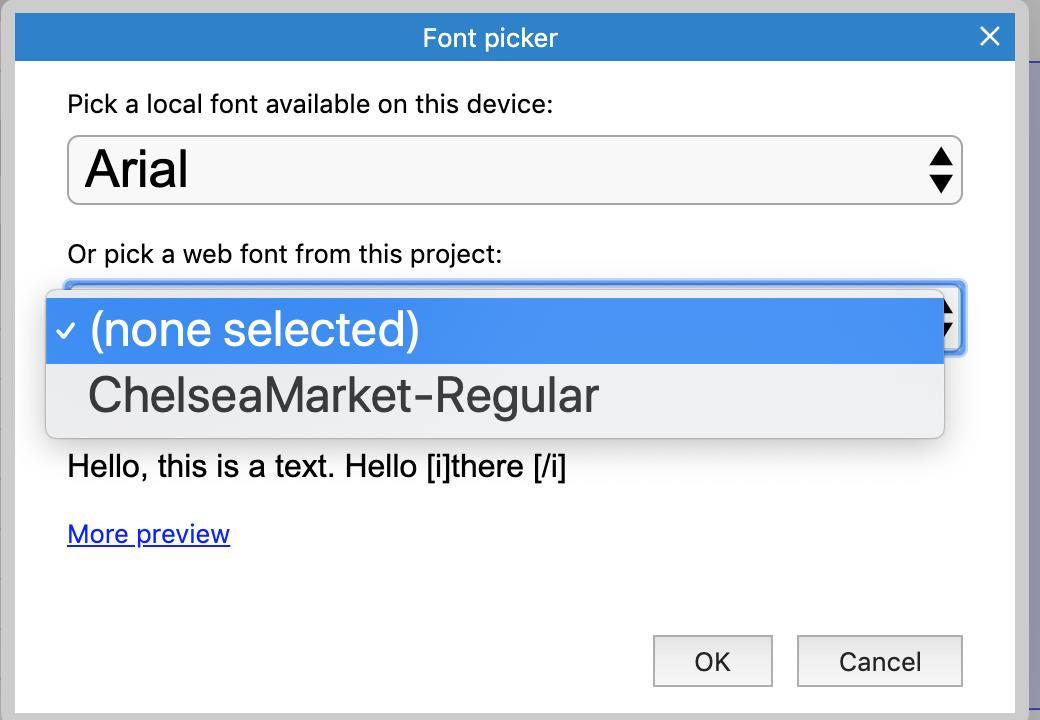 Screenshot of font picker.
