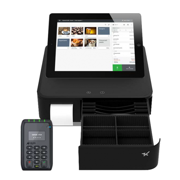 kassaapparat, kvitteringsprinter, pengeskuff, kundeskjerm, 3-i-1 kassaapparat, alt i ett kassaapparat, pos system, pos, paybox