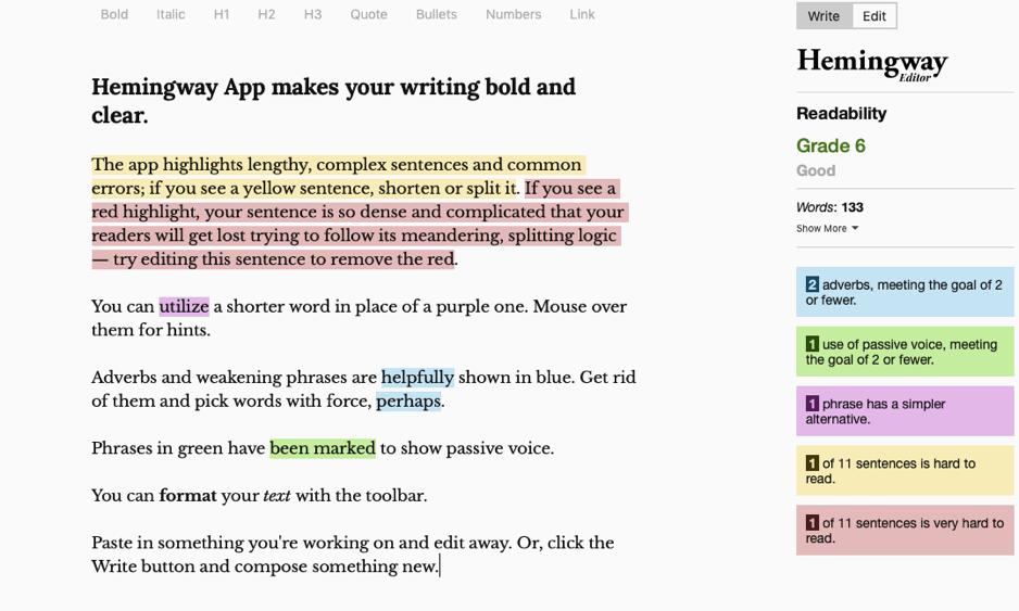 Content marketing tools - Hemingway App