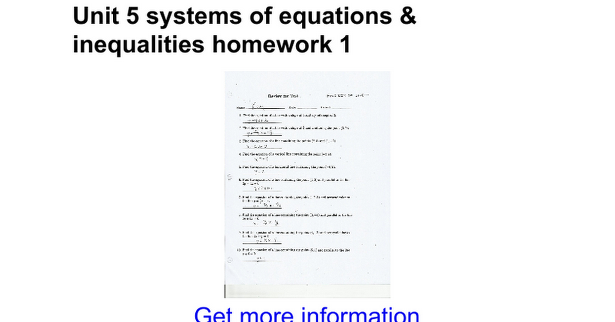 Unit 5 Systems Of Equations Inequalities Homework 1 Google Docs