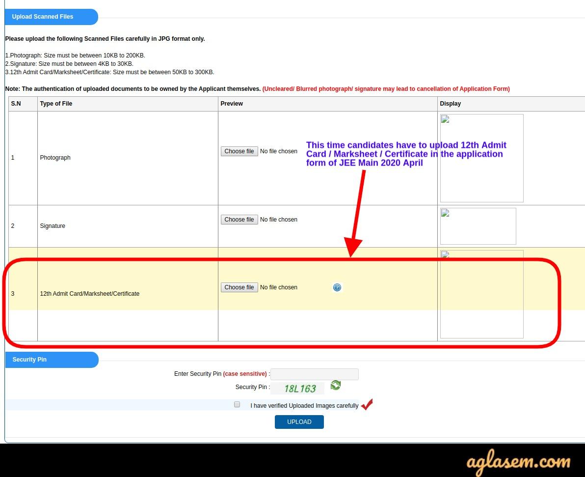 JEE Main 2021 Application Form Images Upload