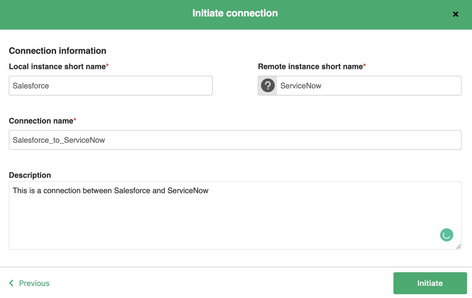 initiate ServiceNow Salesforce integration