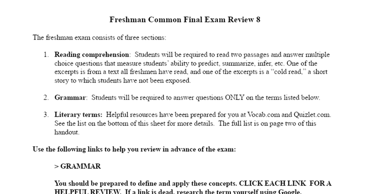 comprehension final exam The national spanish examinations are a motivational contest to recognize student achievement in the study of spanish and to stimulate further interest in the teaching and learning of spanish.