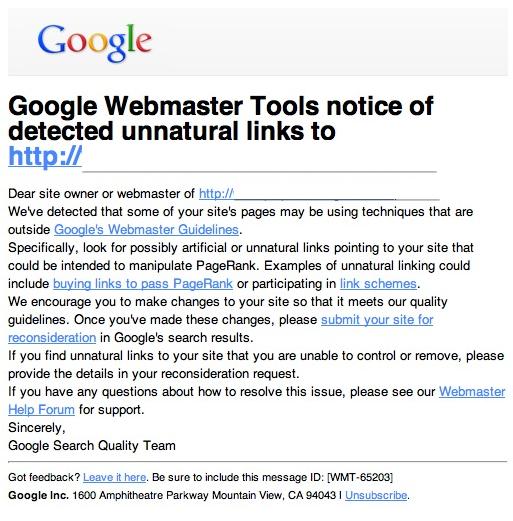 Google webmaster tools notice of detected unnatural toxic backlinks