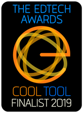 Logo:  The EdTech Awards at top; Cool Tool Finalist 2019 at bottom; stylized e with image of atom in middle