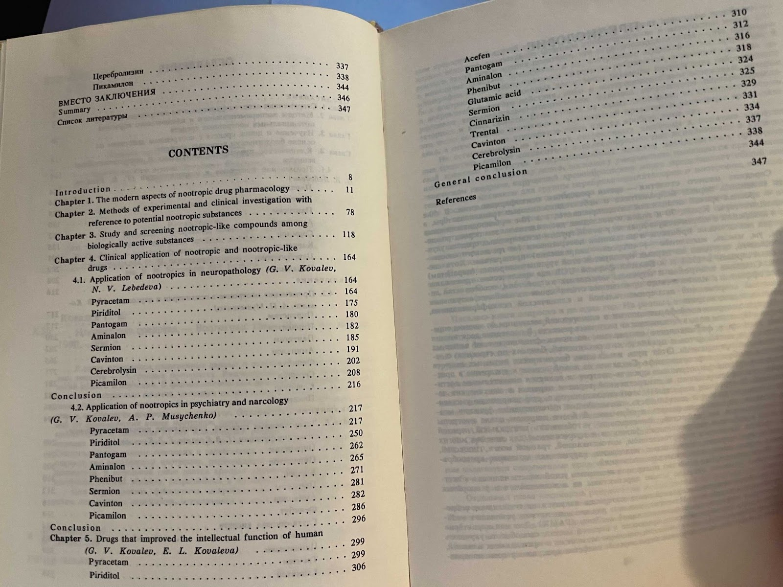 The contents of the Nootropics book