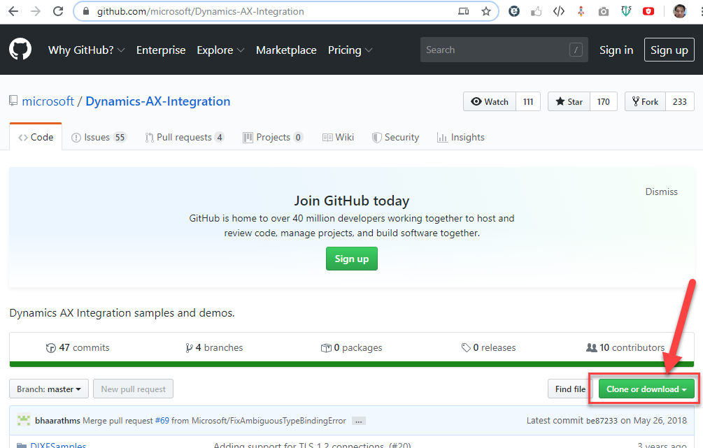 github.com/microsoft/Dynamics-ÆX-lntegration  hy GitHub?  Enterprise Explore  microsoft / Dynamics-AX-lntegration  Q) Issues 55  O Code  Pull requests 4  Marketplace  Projects O  Pricing  Wiki  Search  @ Watch  bJL Insights  Sign in  170  Sign up  111  233  Security  Star  Find file  Fork  Join GitHub today  GitHub is home to over 40 million developers working together to host and  review code, manage projects, and build software together.  Dynamics AX Integration samples and demos.  47 commits  V 4 branches  Sign up  o packages  O O releases  Branch: master  New pull request  Dismiss  10 contributors  Clone or download •  bhaarathms Merge pull request from Microsoft/FixAmbiguousTypeBindingError  Latest commit be87233 on May 26, 2018