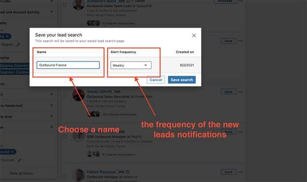set up alert frequency saved search