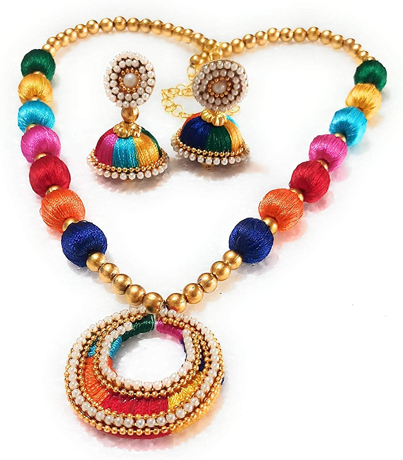 GO FOR IT Multicolour Silk Thread Necklace with matching Earrings