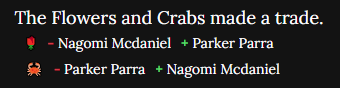 An image showing the Crabs making a trade with the Flowers, exchanging Parker Parra for Nagomi McDaniel.