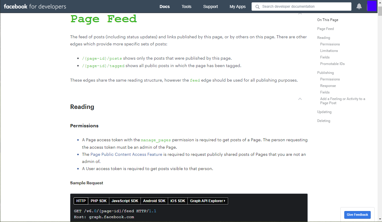 Facebook API Page Feed Endpoint Documentation